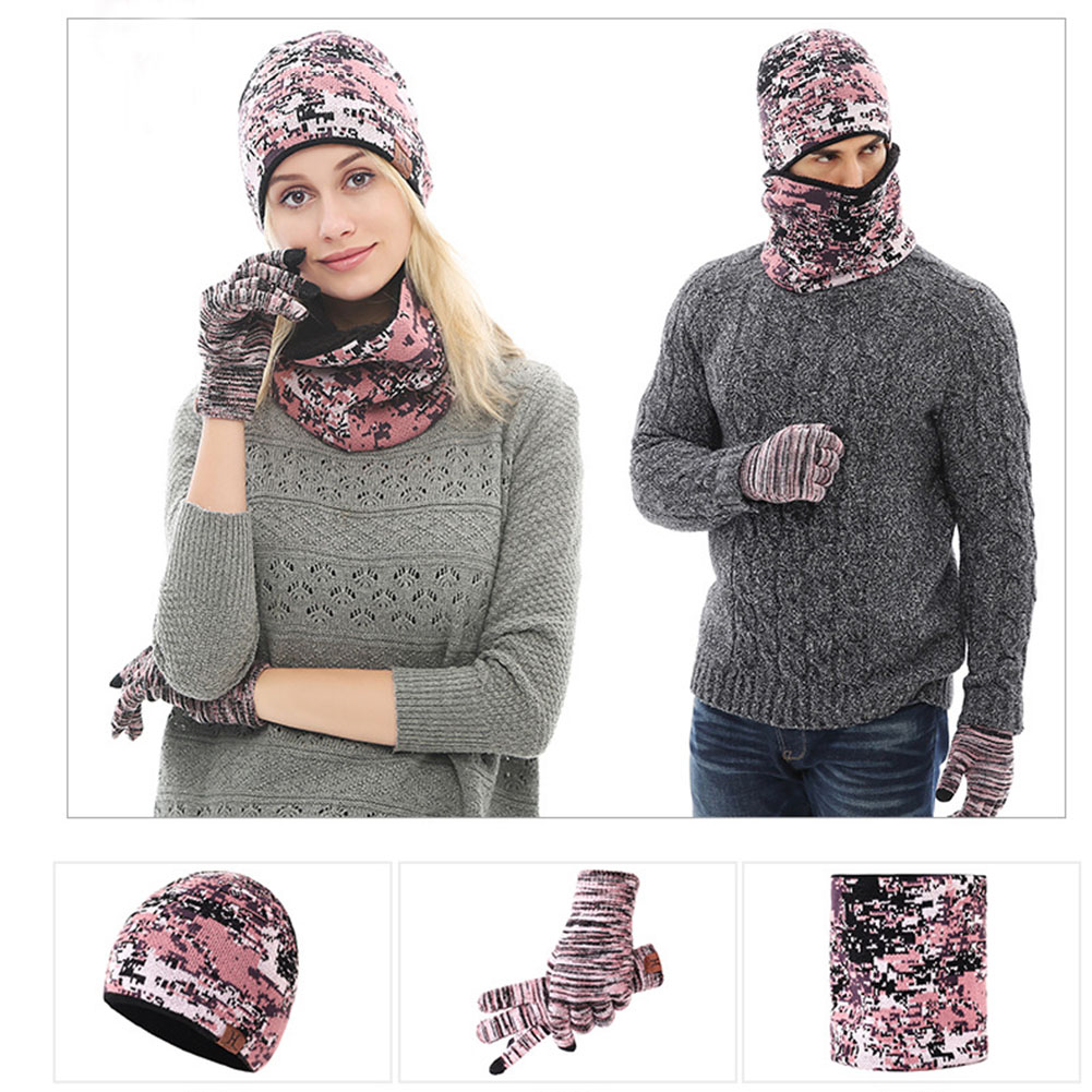 New Unisex Three Piece Set Hat+Scarf+Gloves Camouflage Warm Beanie Men Women Knitted Gloves Winter Scarves For Couples #1108