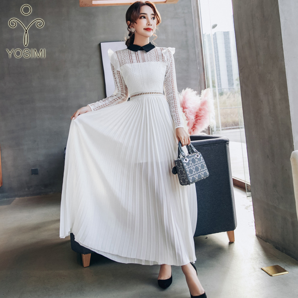 da8ad236002 YOSIMI 2018 Spring Summer Maxi Elegant Chiffon Patchwork Lace Pleated Fairy  Long Women Dress For Travel Hollow Out High Quality