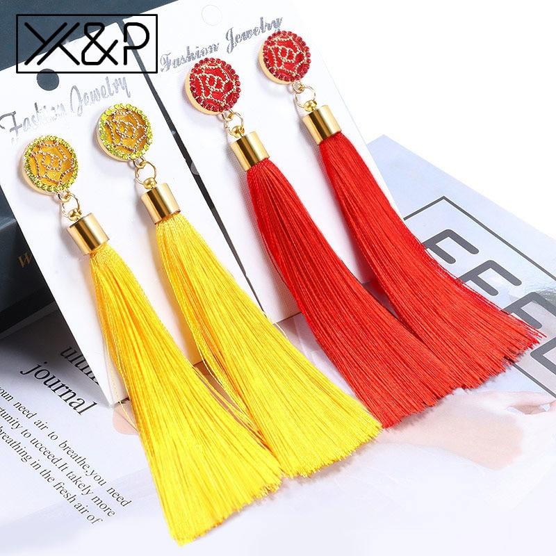 X&P Bohemian Crystal Tassel Drop Earrings For Women Female Fashion Ethnic Long Red Black Fringe Dangle Earring 2019 Jewelry