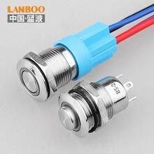 LANBOO 12mm Metal impermeable momentáneo pequeño interruptor de botón
