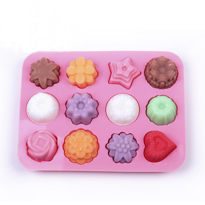 Image 2 - Cake Baking Mould  Silicone Soap Mold 3D Chocolate Supplies 12 hole Baking Pan Tray Molds  Candy Making Tool DIY Jelly mold-in Soap Molds from Home & Garden