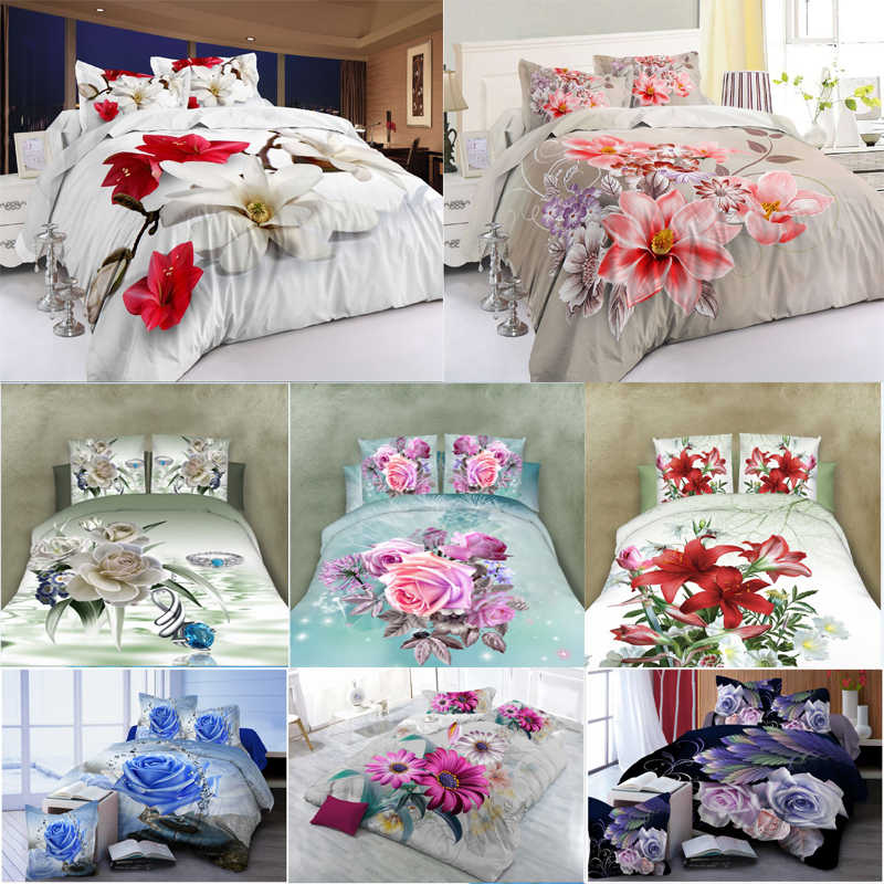 New Scenic Rose 3D Sanding Flower Pattern Bedding Set Quilt Case Bed Sheets Pillow Case 4PCS/Set