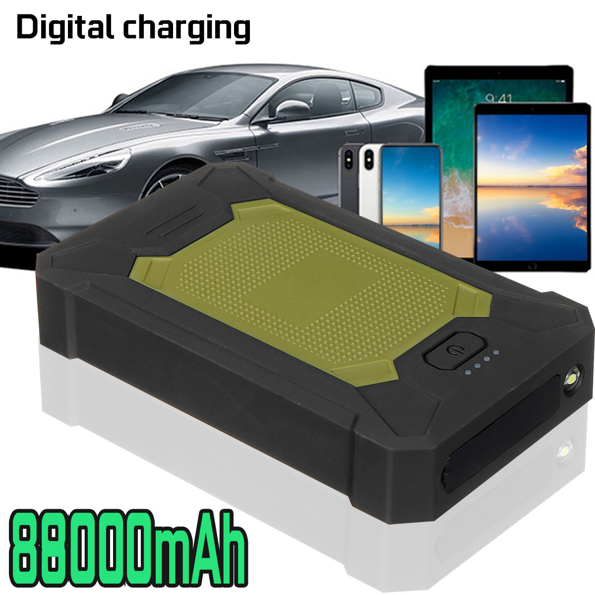 Multifunction Car Jump Starter 88800mAh 5V 600A 4 USB LED Portable Slim Emergency Power Bank Battery
