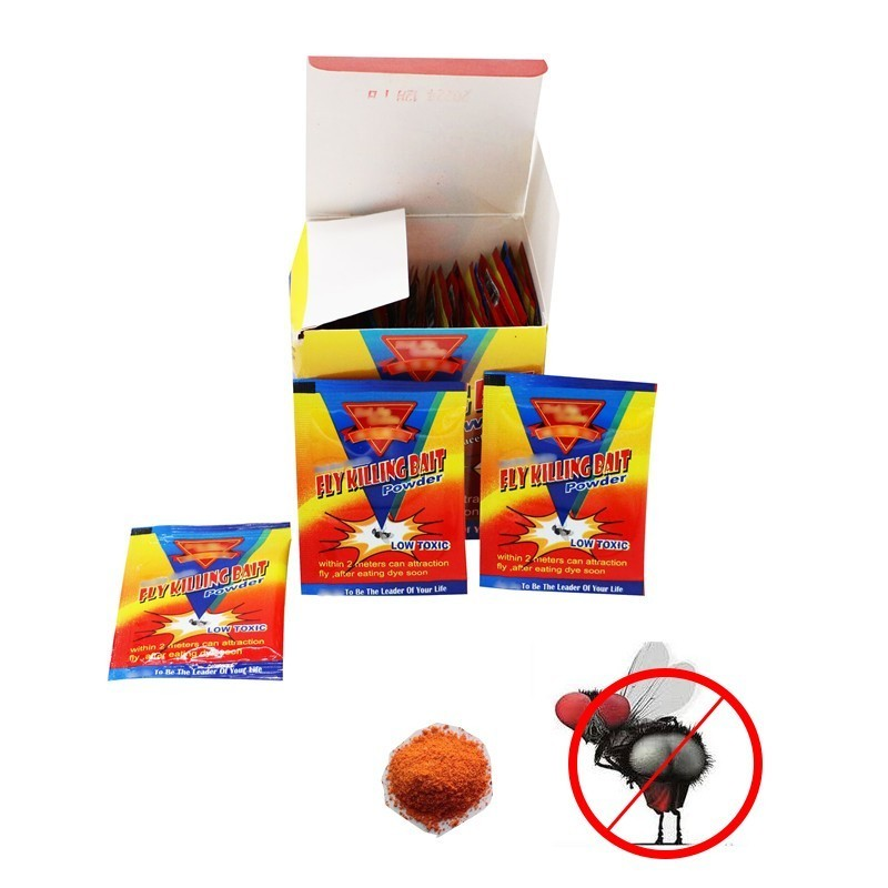 50pcs/lot Powerful Effective Powder Fly Killing Bait Pest Control Flies Poison Killer Insecticide Fly Mosquito Killer Reject