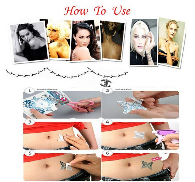 5pcs Temporary 3D Tattoo Sticker Colorful Butterfly Rose Tatoo Tatuagem Totem for Women Skin Beauty Beach Body Art 2