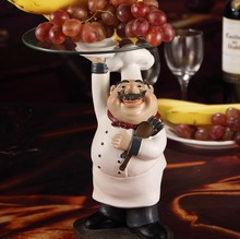 Cook Statue Dinner Plate Decor Resin and Glass Chef Figurine Serving Tray Tableware Ornament Craft for Fruits, Cakes and Snacks