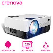 CRENOVA новейший ЖК Проектор для домашнего Театр проектор с 4300 люмен ОС Android 6,1 WI-FI Bluetooth HD 1280*720 P проектор