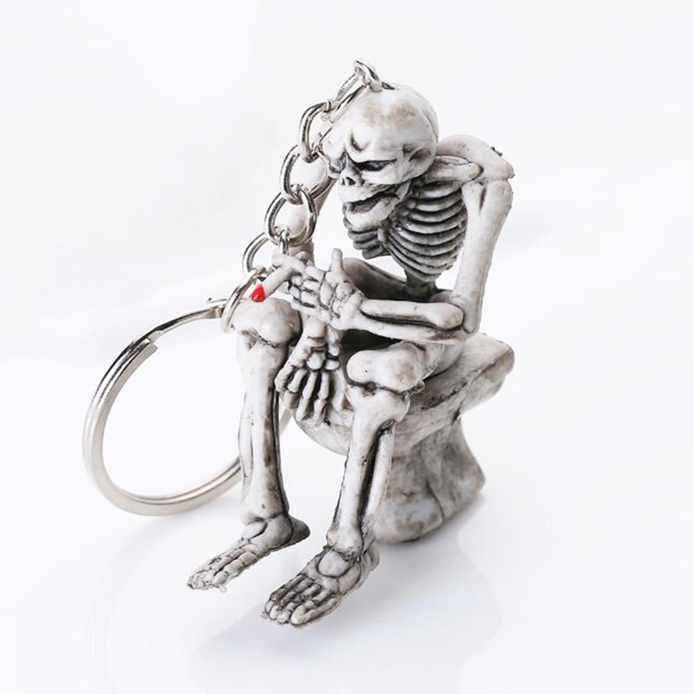 Creative Car Key Rings Toilet Skulls Keychain Cool Skeleton Skull Purse Bag Decor Key Chain Rubber Mini Auto Keyfob Keychains