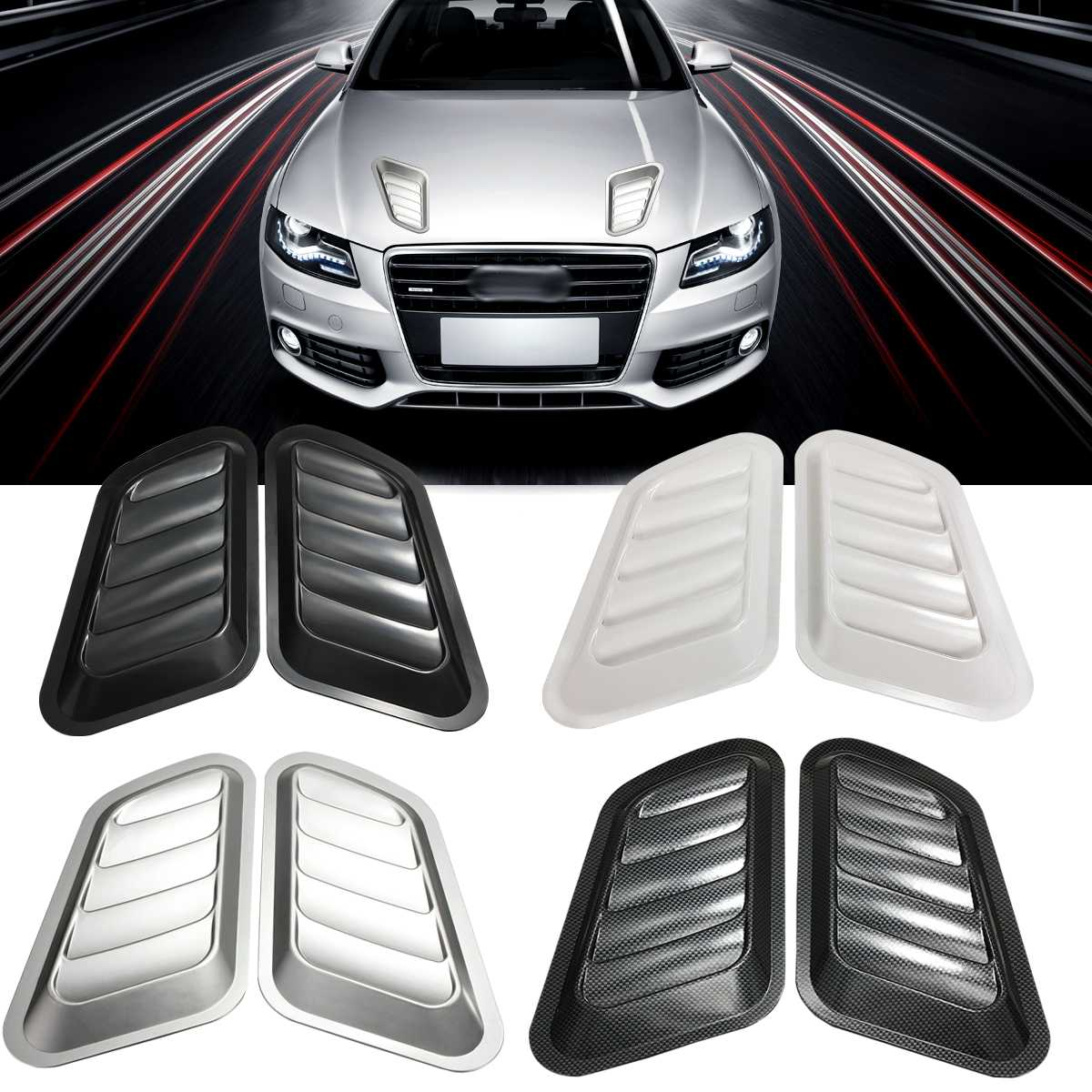 1Pair ABS Car Front Engine Cover Sticker Car Decorative Air Outlet Flow Intake Scoop Turbo Bonnet Vent Cover Hood