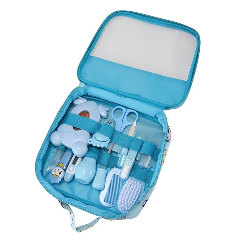 13 Pcs Gesundheit Pflege Tasche Baby Täglichen Hygiene Nagel Clipper Schere Pinsel Haar Kamm Maniküre Pflege Blau/rosa Farbe Für Baby Versorgung Um Der Bequemlichkeit Des Volkes Zu Entsprechen