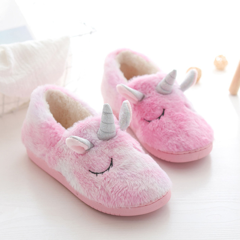 Unicorn Slippers For Girls Slipper Baby Children Slippers Kids Winter Warm Flip Flops Boys Girls Animal Cotton Home Shoes Pink