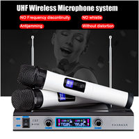 Professional Dual UHF Wireless Microphone System Receiver Cordless Handheld Mic Kareoke KTV Home Party Speakers Christmas Gifts