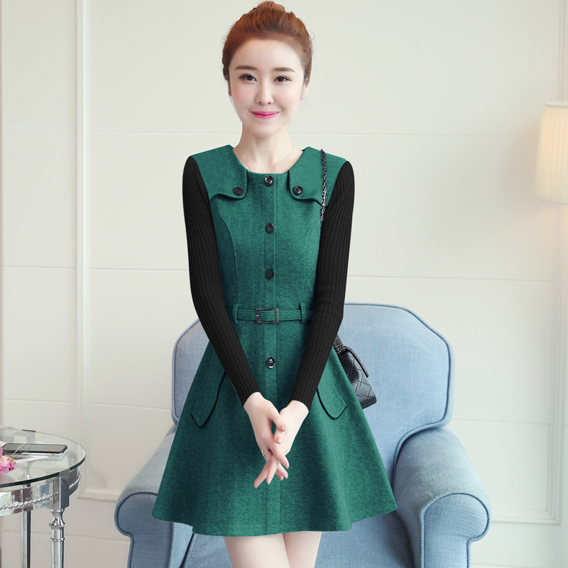 winter new round collar single-breasted cloth dress belt buttons A word women dresses Korean fashion outfit lady vogue vestido 4
