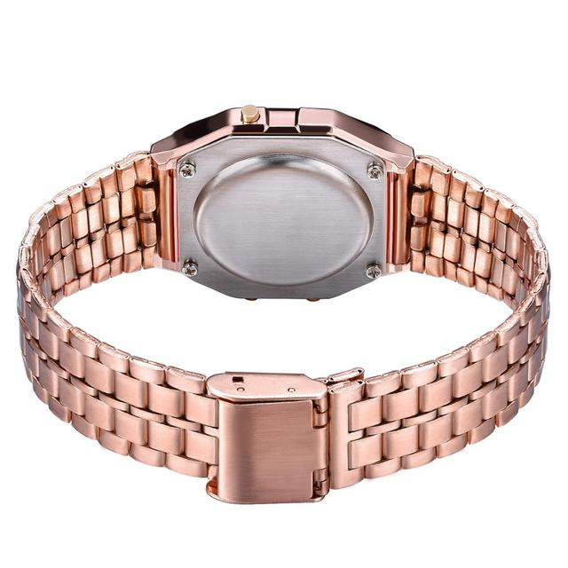 Luxury Rose Gold Digital Women's Men Watches Fashion Stainless Steel LED Ladies Watch Female Electronic Clock 5