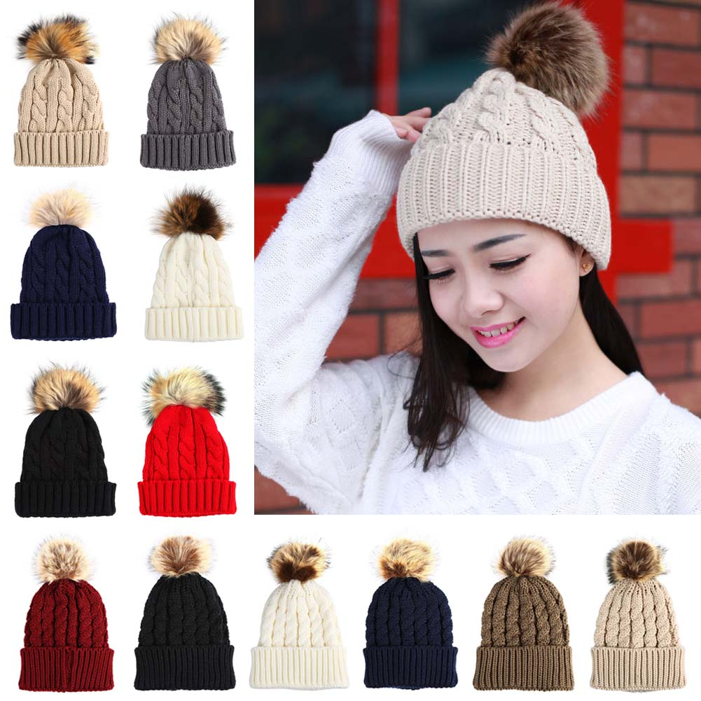 Knitted   Beanie   Hat With Pom Poms Warm Winter Caps For Female Girl Solid Color Fur Pompom Hat Women   Skullies     Beanies   Bonnet Femme