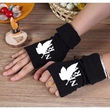2017 Winter Warm Cotton Print Gloves Anime Neon Genesis Evangelion Half Finger EVA Glove Mitten Unisex Cosplay Gifts