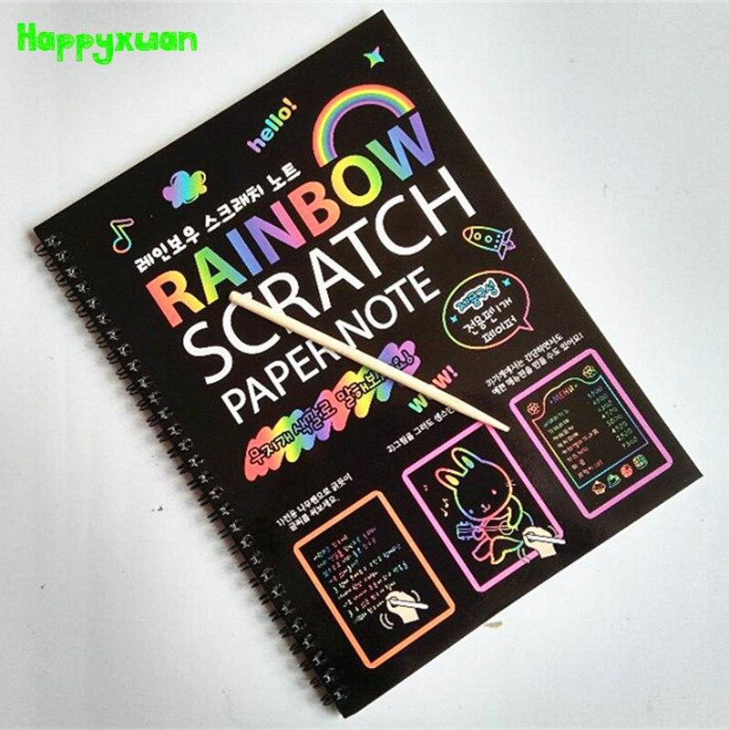 Happyxuan 19*26 cm Große Magie Farbe Scratch notizbuch Papier Schwarz DIY Zeichnung Spielzeug Schaben Malerei Kind 2017 neue