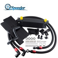 ESPEEDER 13 Rows AN10 Oil Cooler AN10 Oil Lines Kit For Volkswagen VW Golf MK7 GTI Engine EA 88 III Oil Cooler Black/Silver
