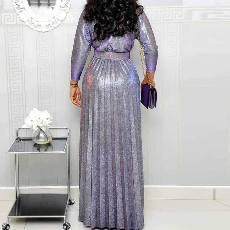 2019, длинное платье со светоотражающими элементами, женское, плиссированное, сексуальное, глубокий v-образный вырез, вечернее, элегантное, платье с высокой талией, модный пояс, вечерние, розовые, Макси платья