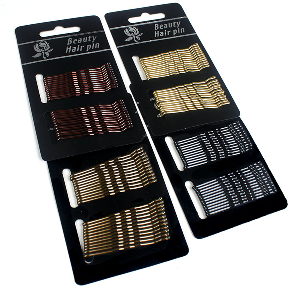 24 Pcs 5 CM Invisible Metal Wave Hair Clips Simple Black Gold Women Girls Styling Hairpins Hairgrips Barrettes Hair Accessories