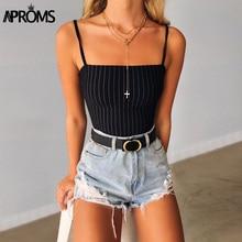 Aproms Sexy Low Back Spaghetti Straps Bodycon Bodysuit 2019 Women Fashion Stripe