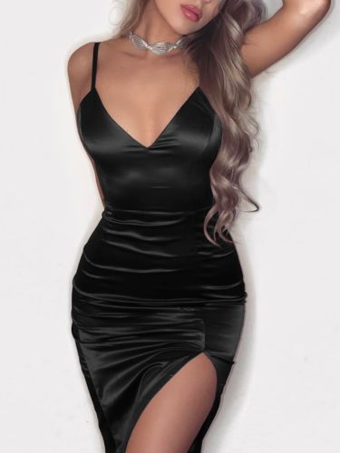 Fashion Sexy Women's V-neck Sling Dress Casual Sleeveless Solid Color Tight Mini Dress 2