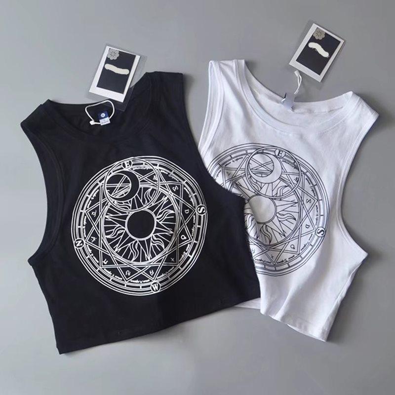 Rosetic Summer 2019 New   Tank     Top   Women Harajuku White Hot Sun Moon Print Gothic Sexy Crop   Tops   Black Casual Streetwear   Tanks     Top