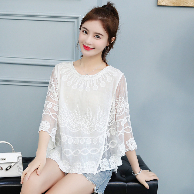 Women Lace One size shirt 2019 summer O neck printing Lace shirt female knit hollow flower blouse women tops and blouses 4015 50 2
