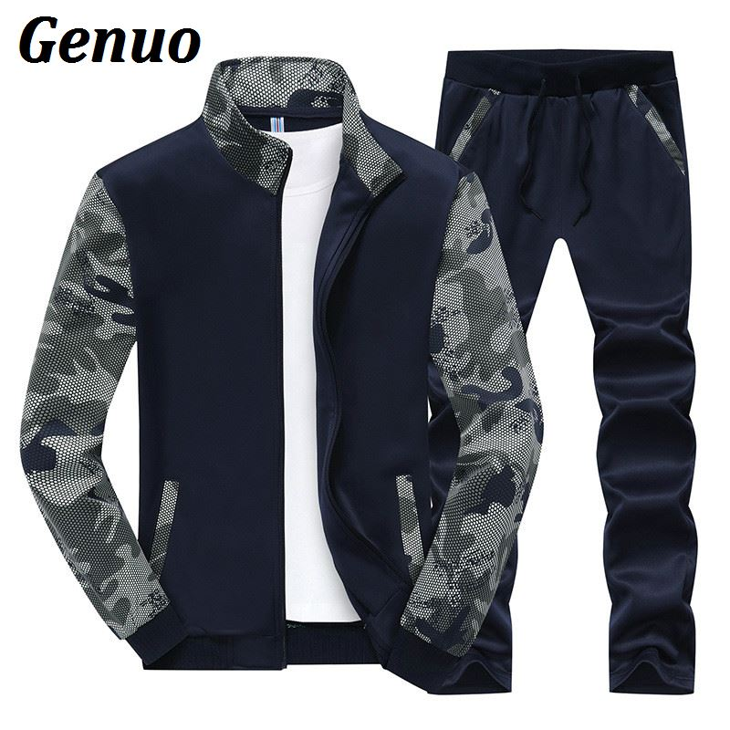 Genuo Spring Men Two Piece Set Tracksuit Men Patchwork Sweatshirts Top And Pant Outwear Stand Collar Hoodies Male Sportwear Sets