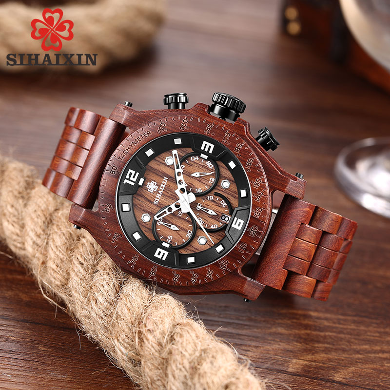 SIHAIXIN Waterproof Wood Watch Men Date Handmade Full Wooden Creative Business Quartz Male Clock With Bamboo Box Christmas Gift светильник подвесной vitaluce v4502 v4502 1s
