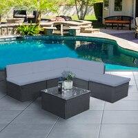 Поміняне полиротанга садовый диван садовая мебель Таблица консерватории Плетеный набор с подушками спинка