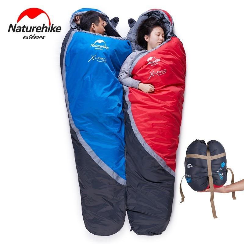 NatureHike цена от 0 до 5 градусов зимний Мумия спальный мешок для кемпинга Пешие прогулки путешествия может быть молнии вместе
