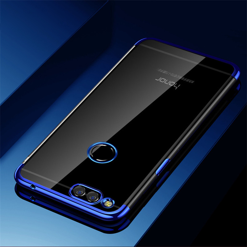 Coque Case On Honor 7C 7A Pro Cases For Huawei Honor 7A 7C Pro Bacl Cover Soft TPU Silicone Transparent Plating Blue Shockproof
