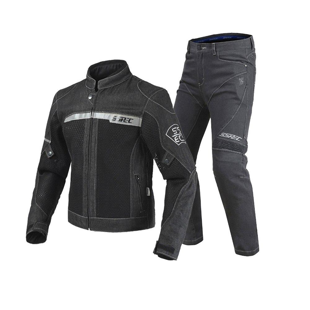 2018 offre spéciale noir Moto veste pantalon hommes Moto veste respirant Denim maille course veste d'équitation Jaqueta Motoqueiro