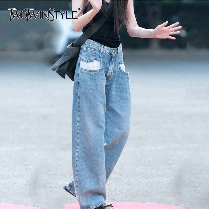 TWOTWINSTYLE Casual Jeans Female High Waist Hit Colors Patchwork Long Denim Trousers For Women 2020 Spring Streetwear Fashion
