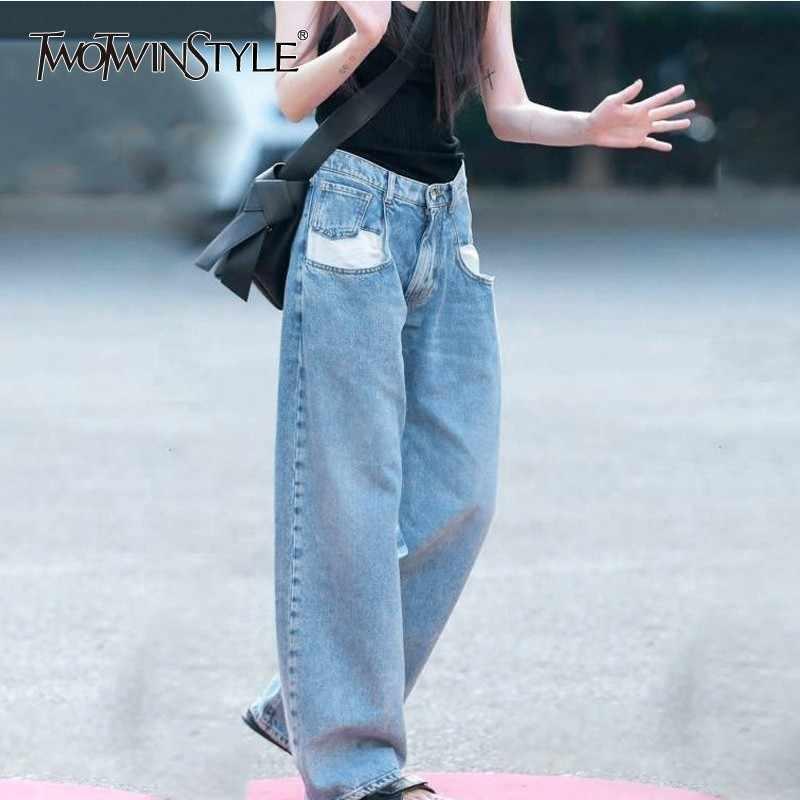 TWOTWINSTYLE повседневные джинсы женские с высокой талией хитовые цвета Лоскутные Длинные Джинсовые Брюки Для Женщин 2019 Весна уличная мода