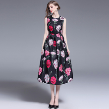 Banulin New Arrival 2019 Women Runway Summer Dresses O Neck Sleeveless Floral Printed Ruched High Street Fashion Casual