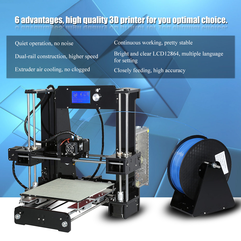 Image 5 - Anet A6 o wysokiej precyzji duży rozmiar pulpitu 3D zestawy do drukarek do samodzielnego montażu ekran LCD z SD o pojemności 16GB drukowanie kart rozmiar 220*220*250mmDrukarki 3D   -