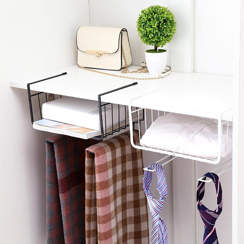 Cupboard Hanging Under Shelf Storage Iron Mesh Basket Cabinet Door Organizer Rack Closet Holders Storage Basket Rack Organizer