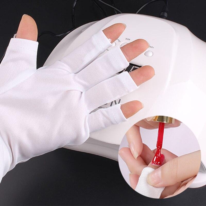 White Nail Anti-ultraviolet Open-Toed Gloves Protection UV Gel Polish Light Lamp Radiation Shield Skin Nail Tools