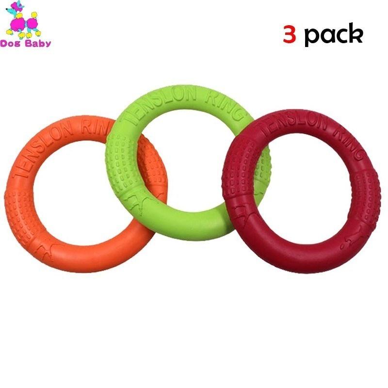 3 Pack Flying Discs Dog Tension Ring Toys Pet Pull Training EVA Big Bite-resistant Floating Motion Tool