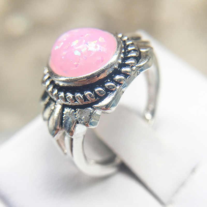 חתונה טבעות לאישה עדין קריסטל עגול טבעת לבן זהב בוהמי 925 כסף רטרו פרח צורת תכשיטי אבזרים