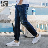 KUEGOU 2019 Autumn Blue Jeans Men Brand Slim Fit Ripped Distress Pants For Male Fashions Streetwear Hip Hop Denim Trousers 2651