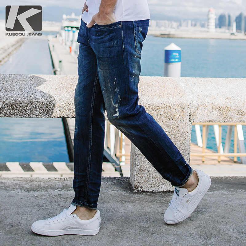 Kuegou 2019 Musim Gugur Biru Jeans Pria Merek Slim Fit Ripped Distress Celana untuk Pria Mode Streetwear Hip Hop Denim 2651