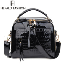 Herald Fashion Women Handbags Female Luxurious Patent Leather Shoulder Bags High Quality Ladys Tote Bag Solid Messenger