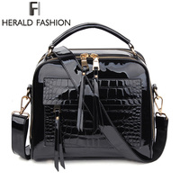 Herald Fashion Women Handbags Female Luxurious Patent Leather Shoulder Bags High Quality Lady's Tote Bag Solid Messenger Bags