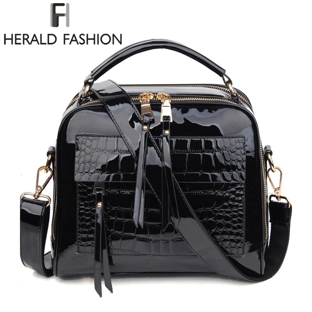 Herald Fashion Women Handbags Female Luxurious Patent Leather Shoulder