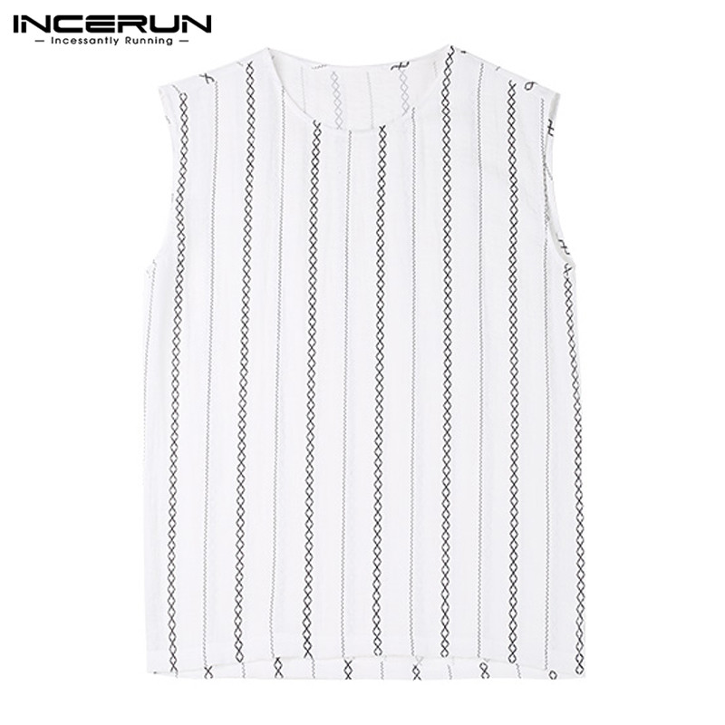 Chinese Striped Print Tank Tops Sleeveless Tee Men Summer Men Tops Loose Fit Crew Neck Camisas Hombre Joggers Bodybuilding