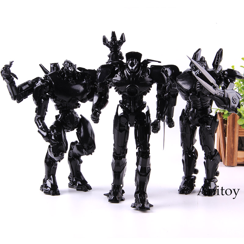 NECA Pacific Rim Figure Action Toy Jager End Titles Black Variant PVC Collection Model 3pcs/set