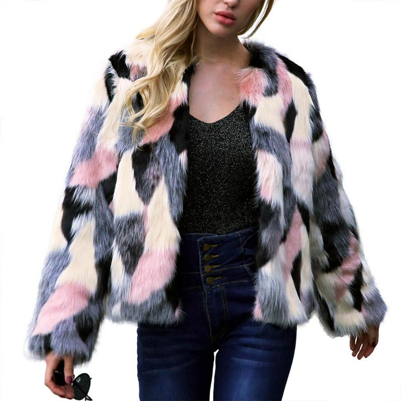 MISS M Women's Winter Warm Colorful Piecing Faux Fur Coat Jacket Shaggy Faux Fur Coat Fahsion Short Cardigans Overcoat